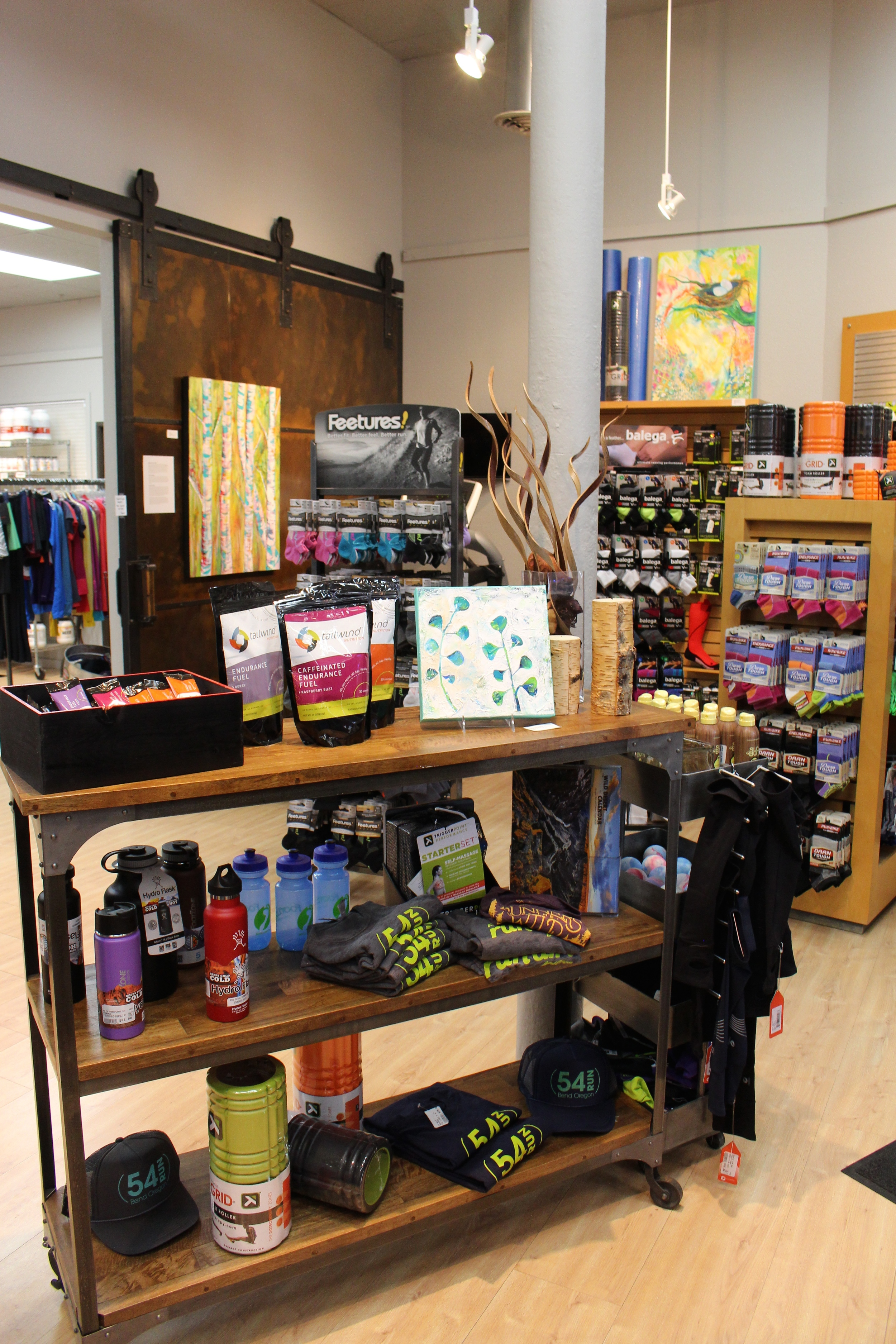 MaryLea Harris ART at FootZone in Bend, OR, February 2015 - Can you find the three paintings?