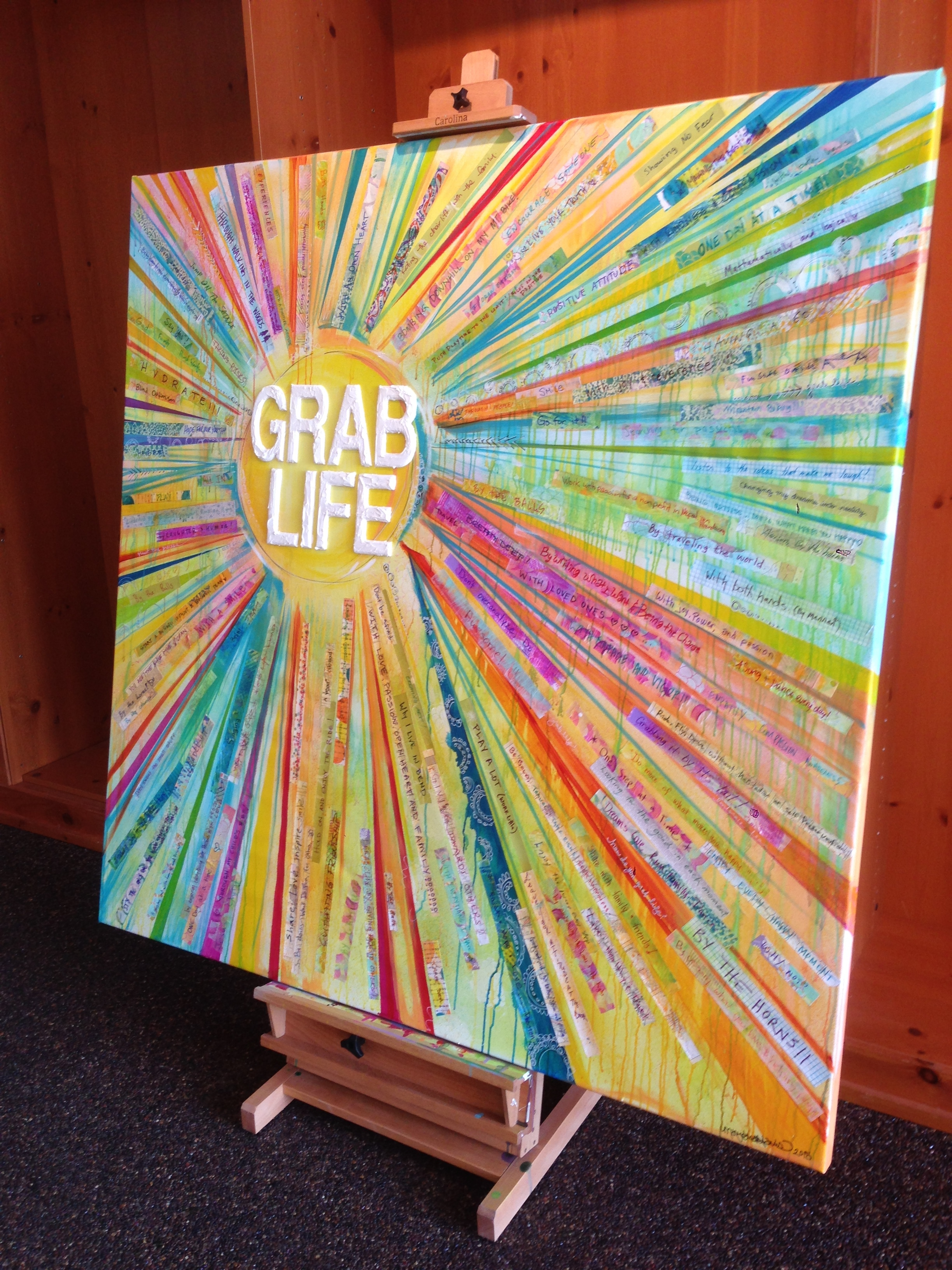 """Grab Life"" painting by MaryLea Harris, created for BOUNCE at TEDxBend 2015 (SOLD)"