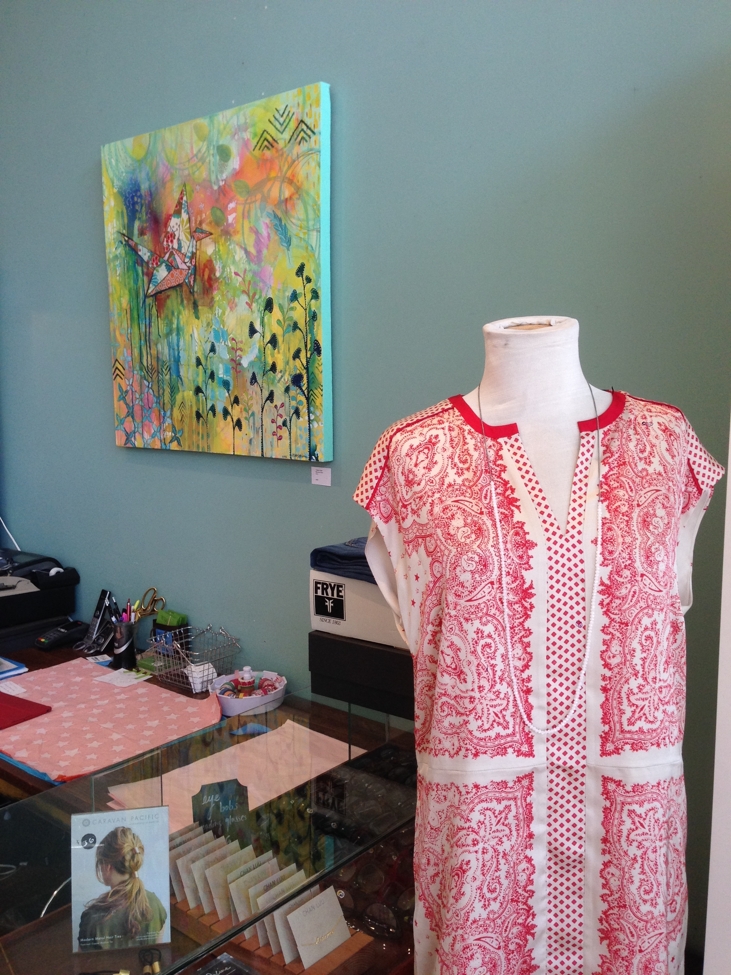 """My """"Taking Flight"""" painting was meant to be with this beautiful silk dress!"""