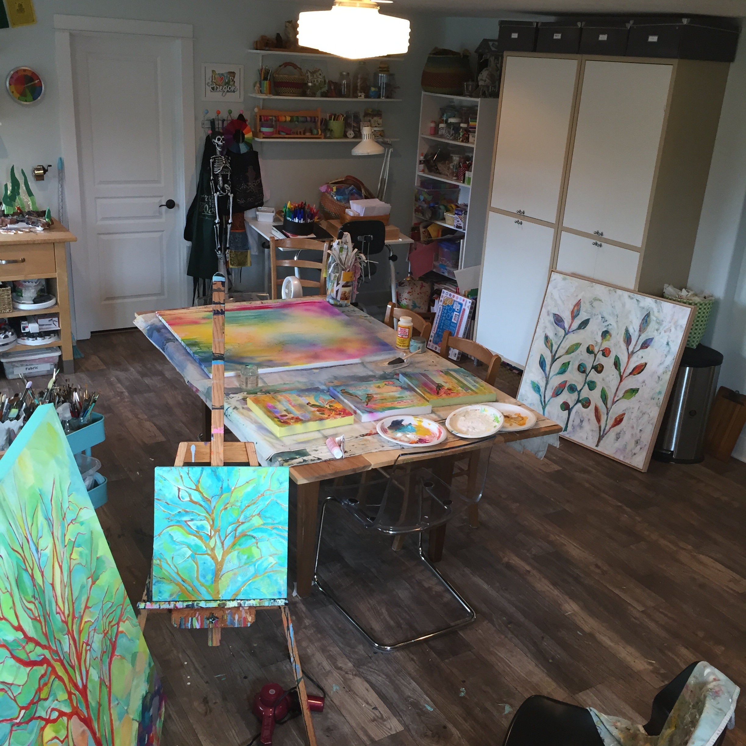 A sneak peek inside my art studio while I was getting ready for my summer art shows.