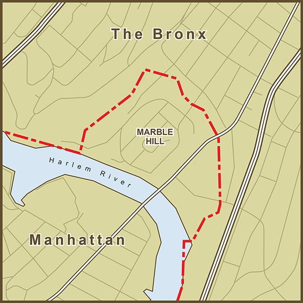 Bronx-Manhattan, Marble Hill Map.png