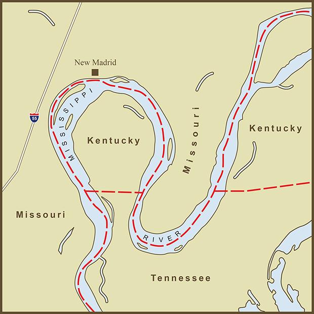 Kentucky-Missouri, New Madrid Bend Map.png