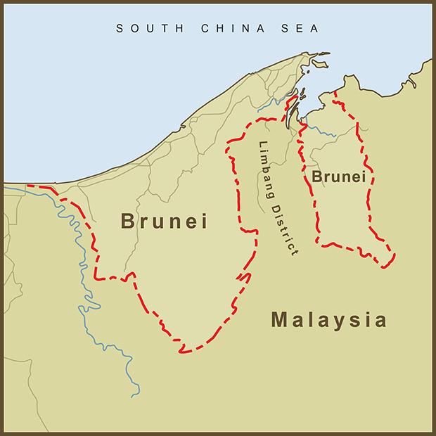 Brunei-Malaysia, Border Map.png