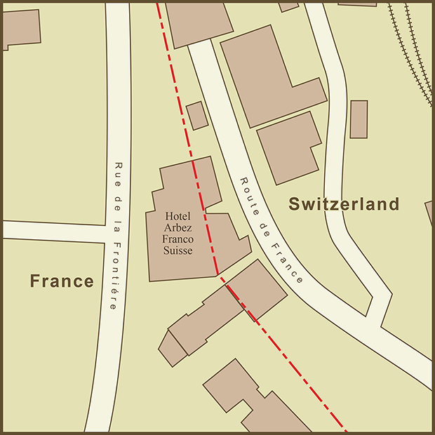 France-Switzerland, Hotel Arbez Map.png