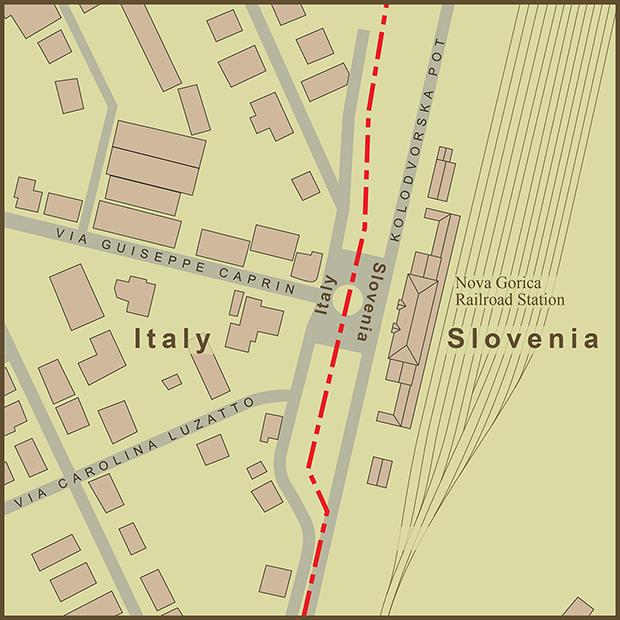 Italy-Slovenia, Town of Gorizia Map.png