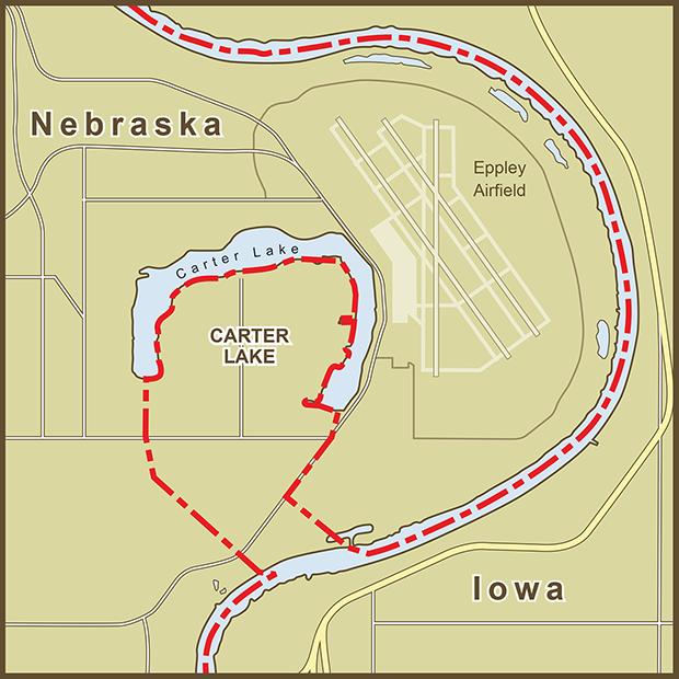 Iowa-Nebraska, Carter Lake Map.png