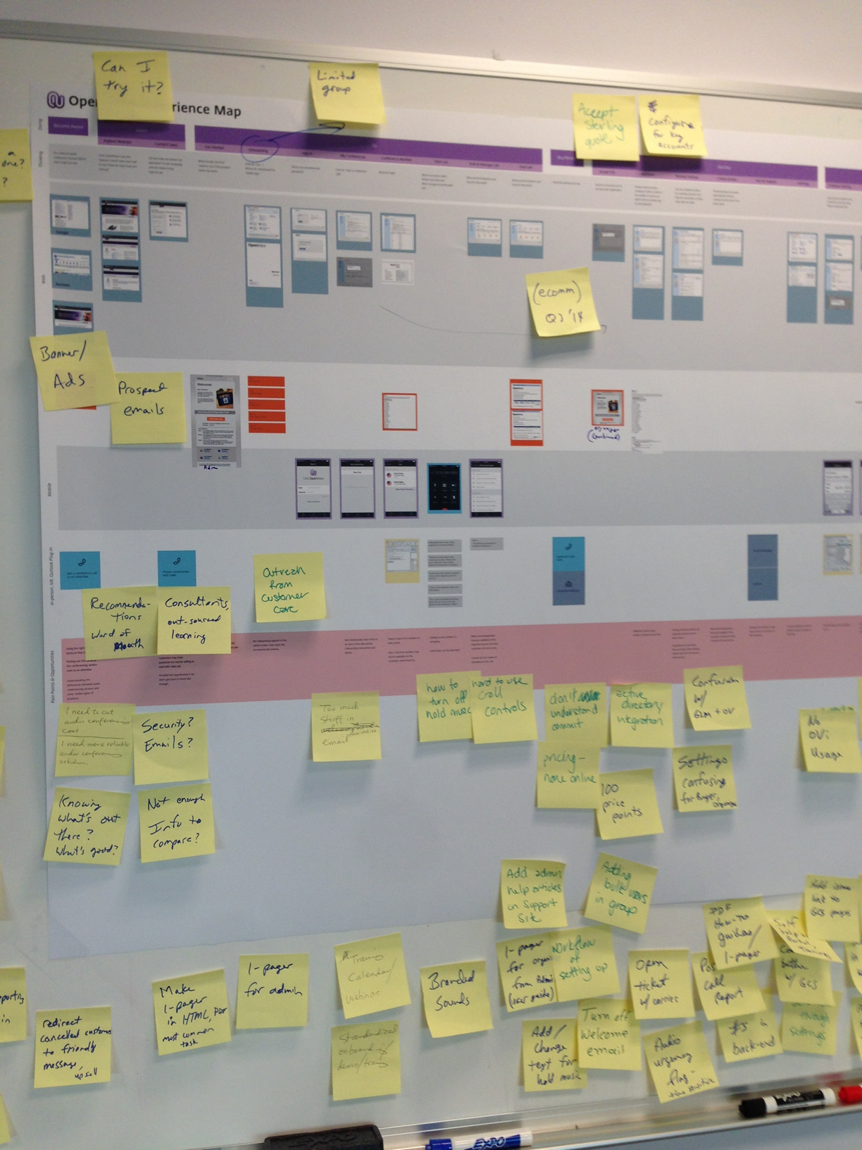 I made a draft map and the team walked the customer journey, adding steps, pain points, and opportunities.