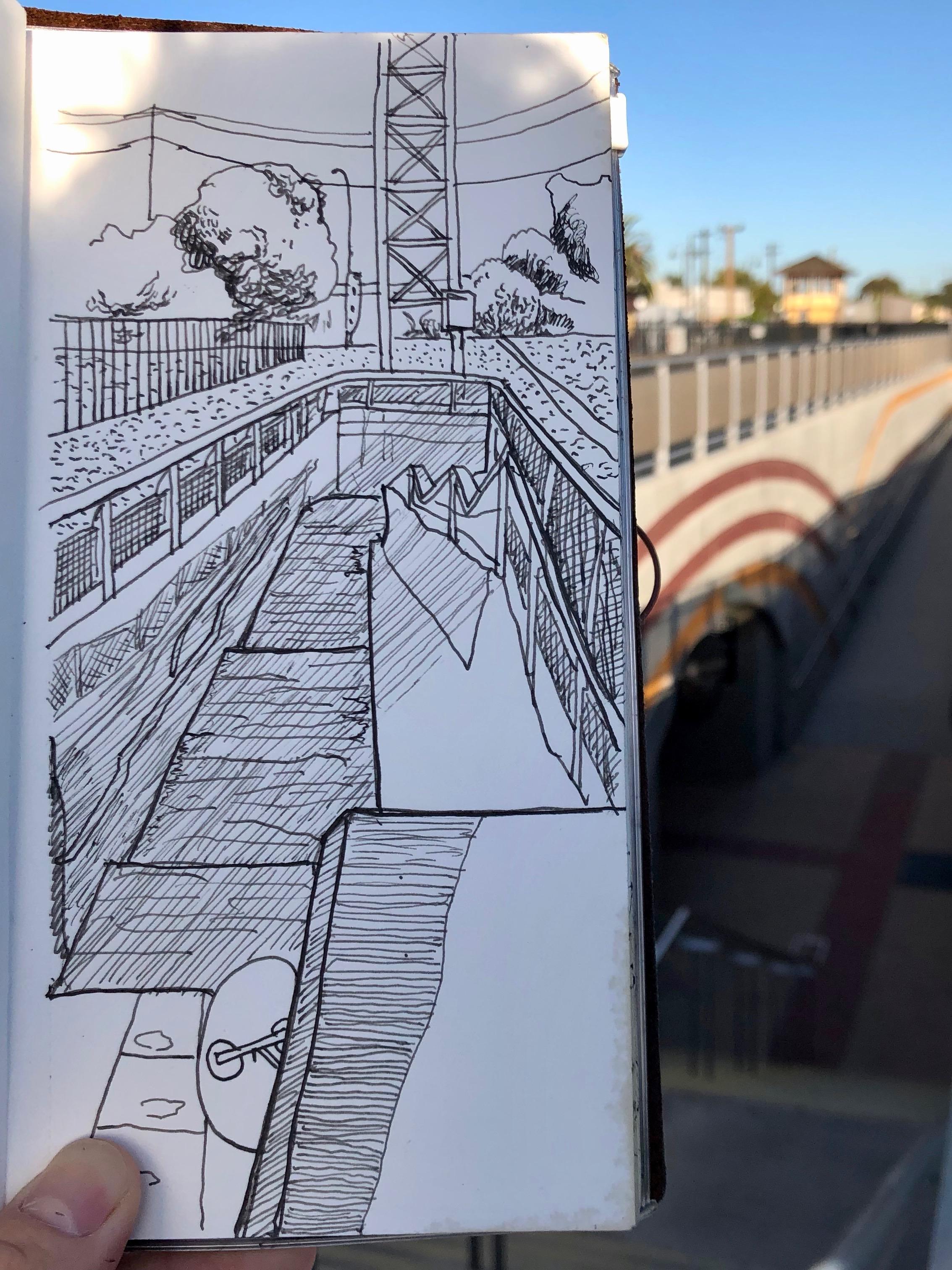 Stairway to Caltrain Platform.