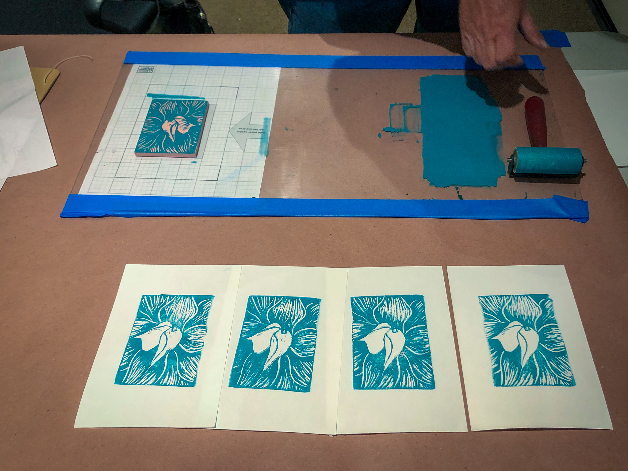 Participants printing at Gamble Garden Workshop
