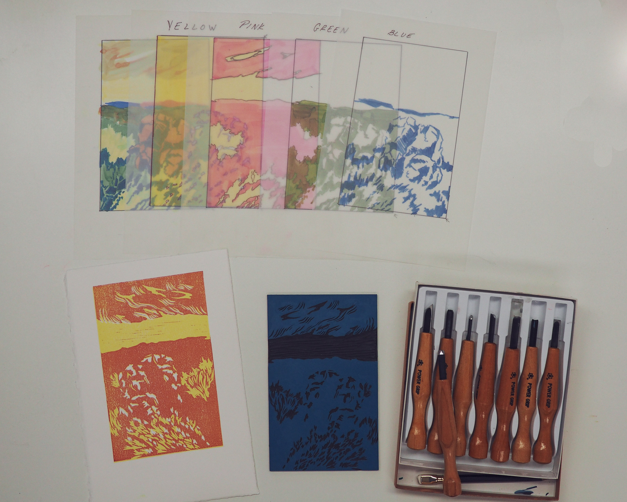 Example of color flats, in-process relief print, Lino-block, and carving tools