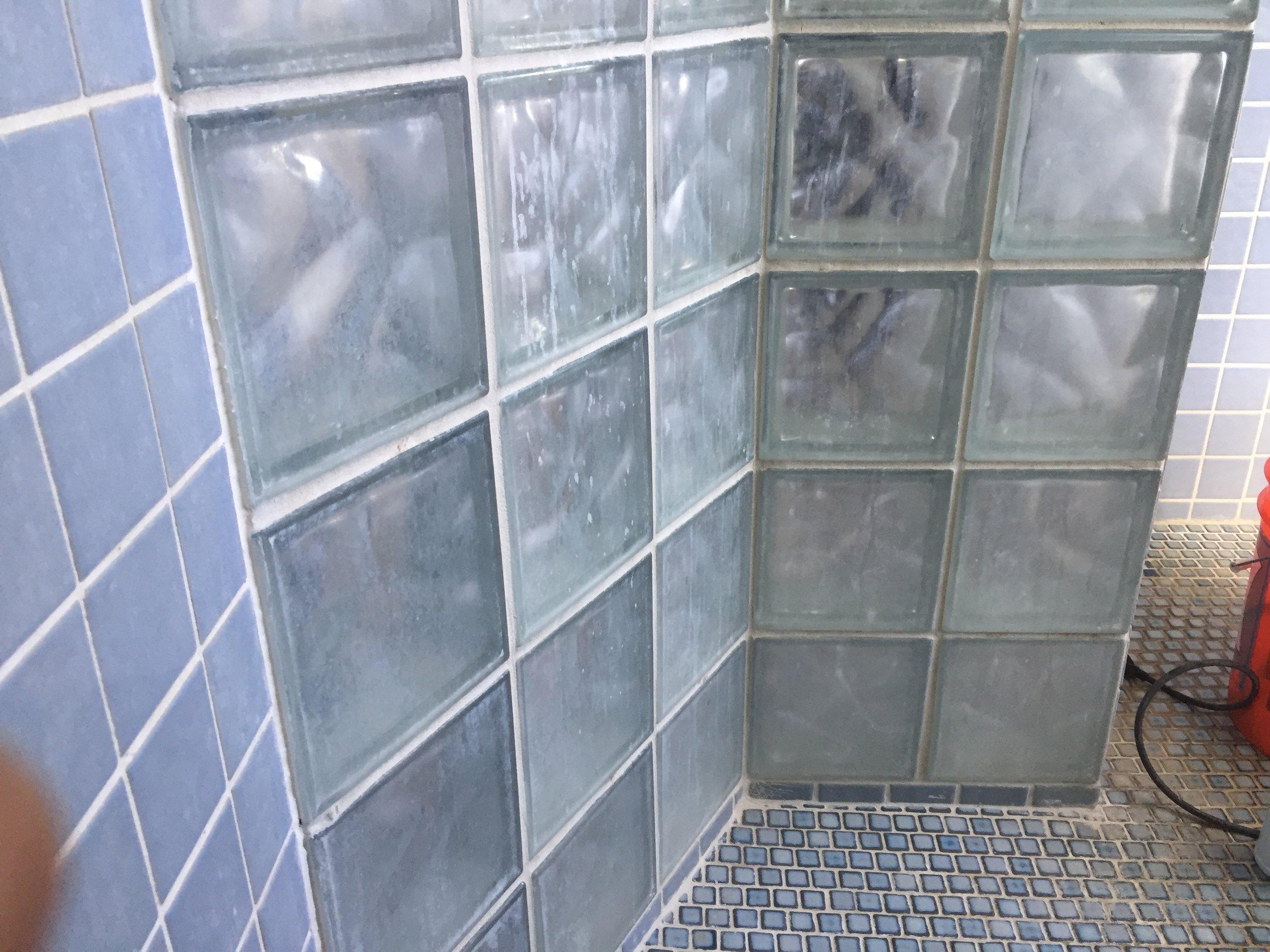 Shower glass blocks before