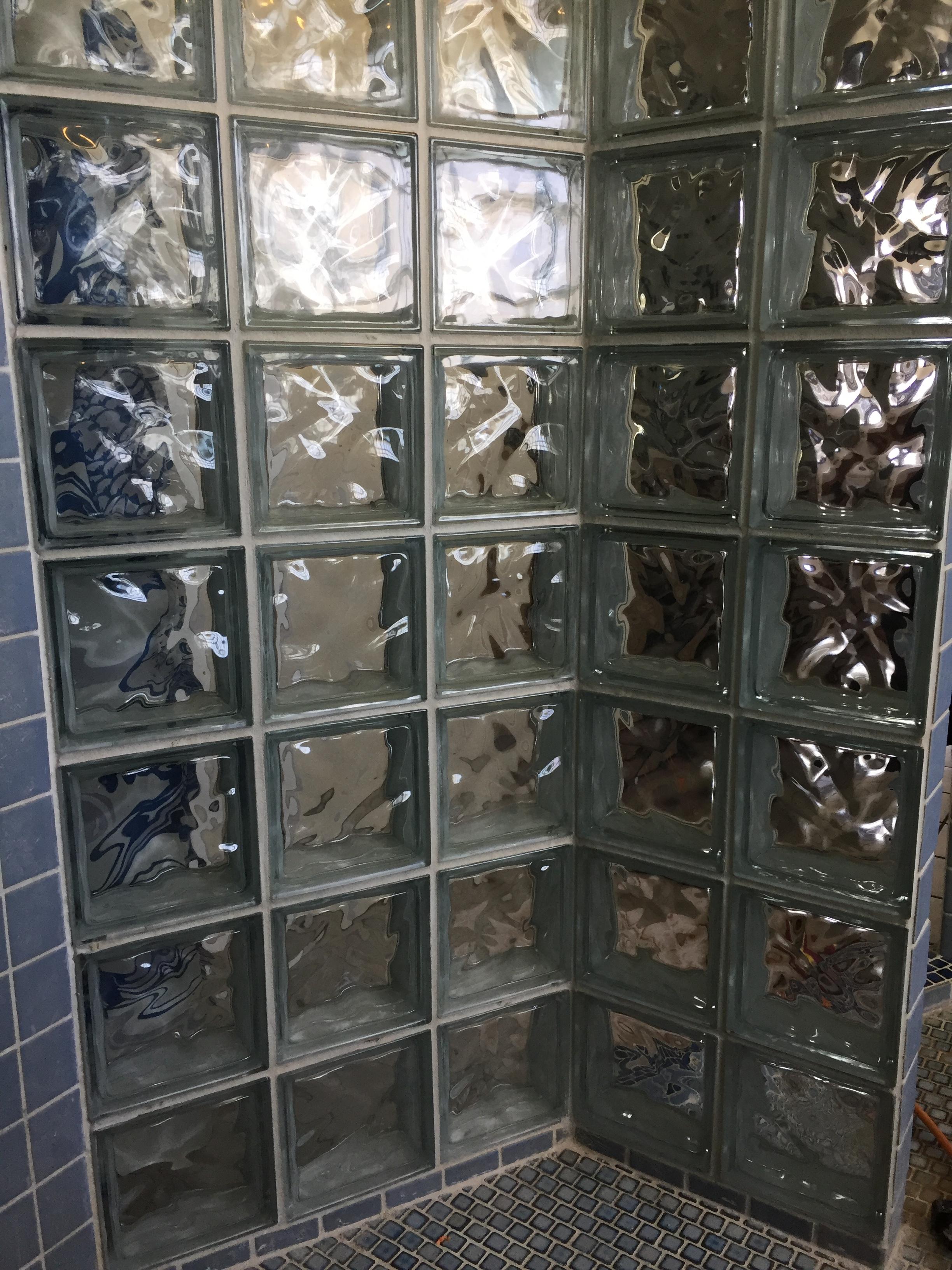 Shower glass blocks after