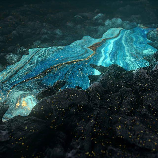 Azure volcanic prospecting . . . .  #redshift3d #redshift #maya #autodeskmaya #rendering #lighting #3d #digitalart #bluelava #lava #volcanic #hotfire #xuxoe #shading #rsa_graphics #thegraphicspr0ject #fubiz #azure #displacement #gold #alchemy