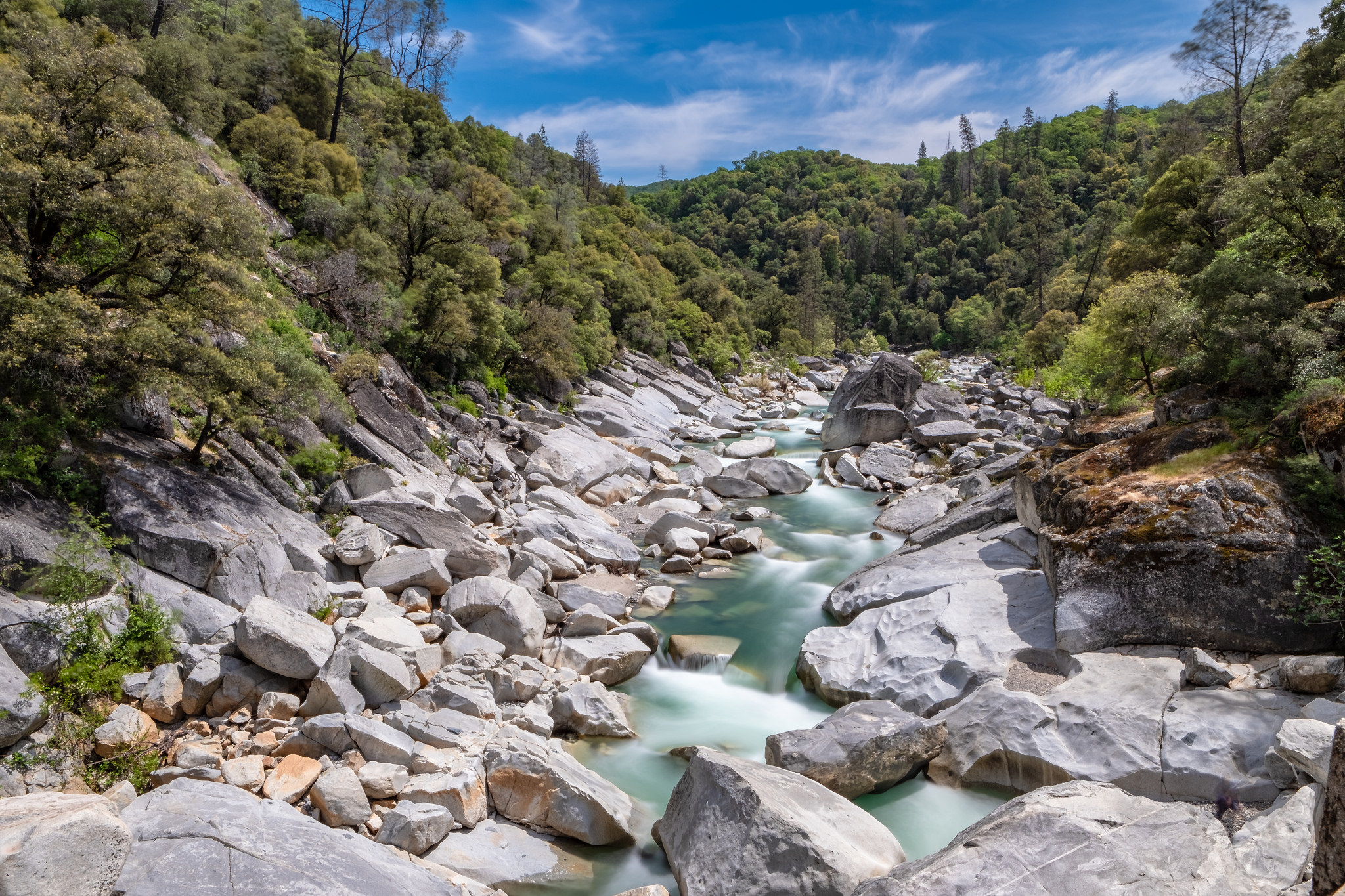 South Yuba River in Nevada City.  13 second exposure. f/16. ISO 100. 16mm lens. Mid day sun.