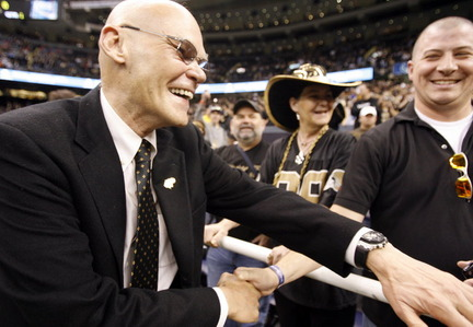 James Carville before the start of the NFC Championship between the New Orleans Saints and the Minnesota Vikings at the Louisiana Superdome in New Orleans Sunday, January 24, 2010.