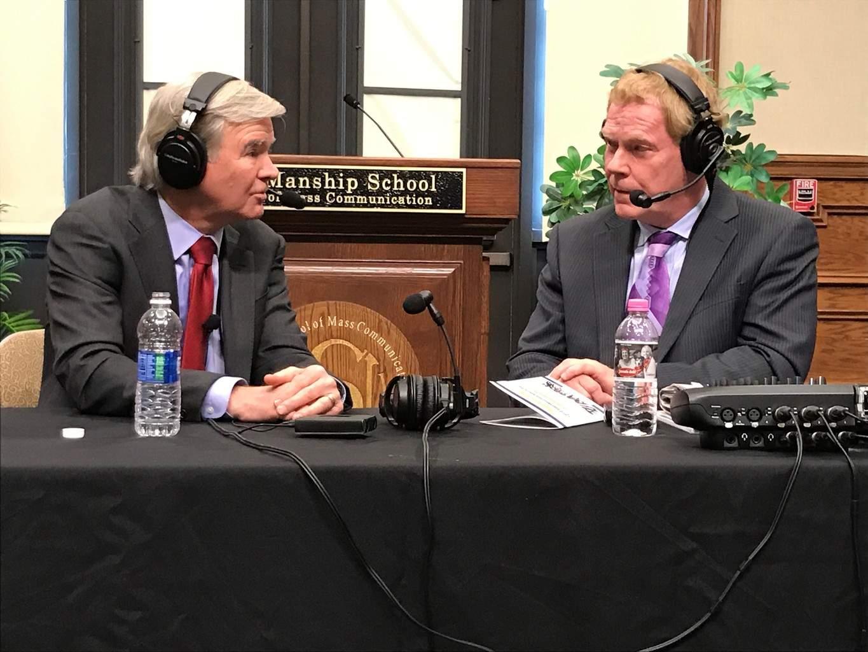Jim interviewing NCAA President Mark Emmert at LSU Manship School of Mass Communication Sports Communication Summit