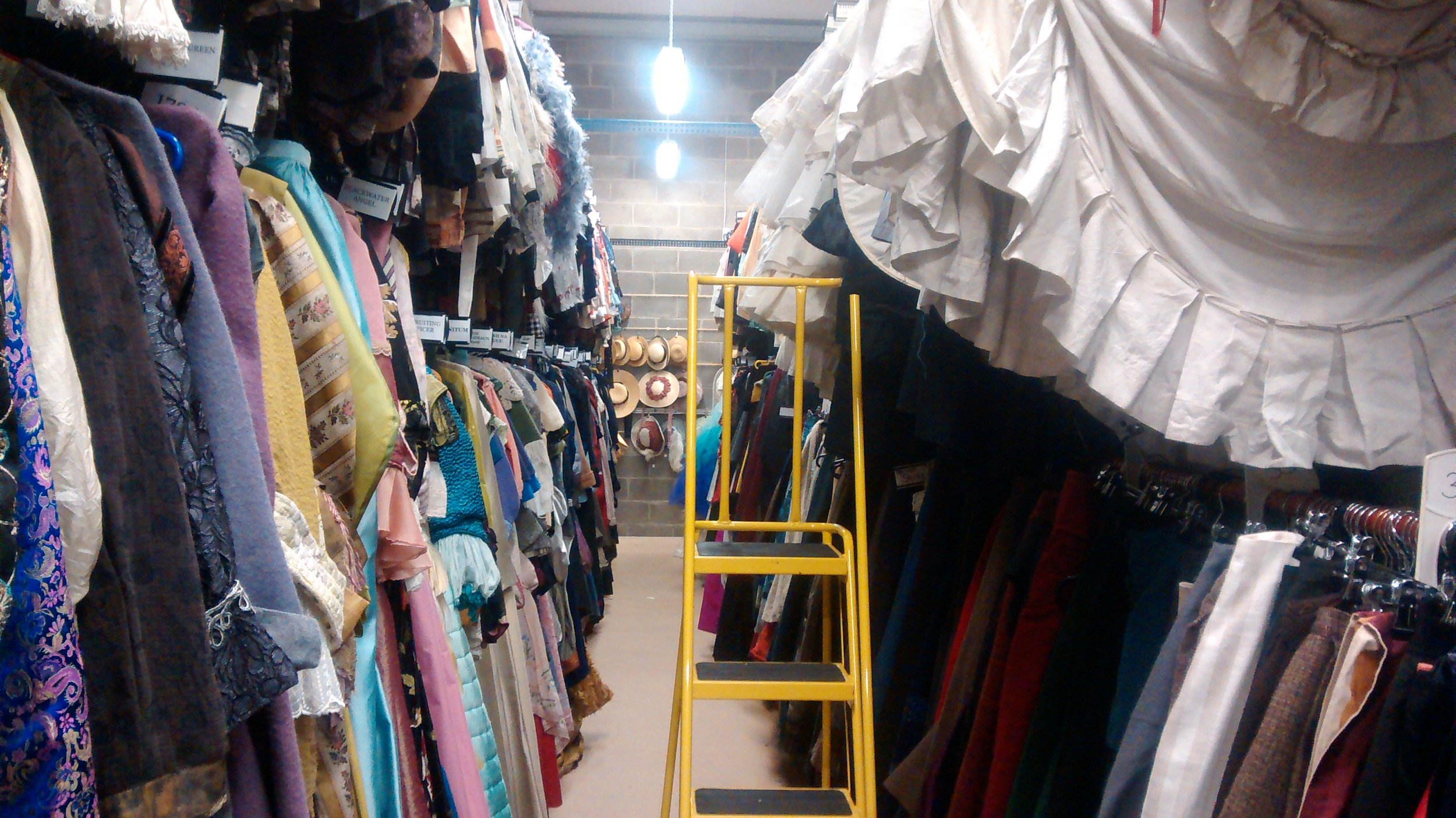 An aisle in the costume hire warehouse in Finglas