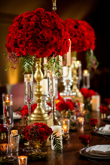 Gorgeous! Gold and red inspired table-scape for a wine theme!