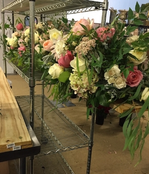 The flowers were arranged at the shop