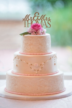 Fondant icing and fresh flower topping. Photography by Megan Schmitz.