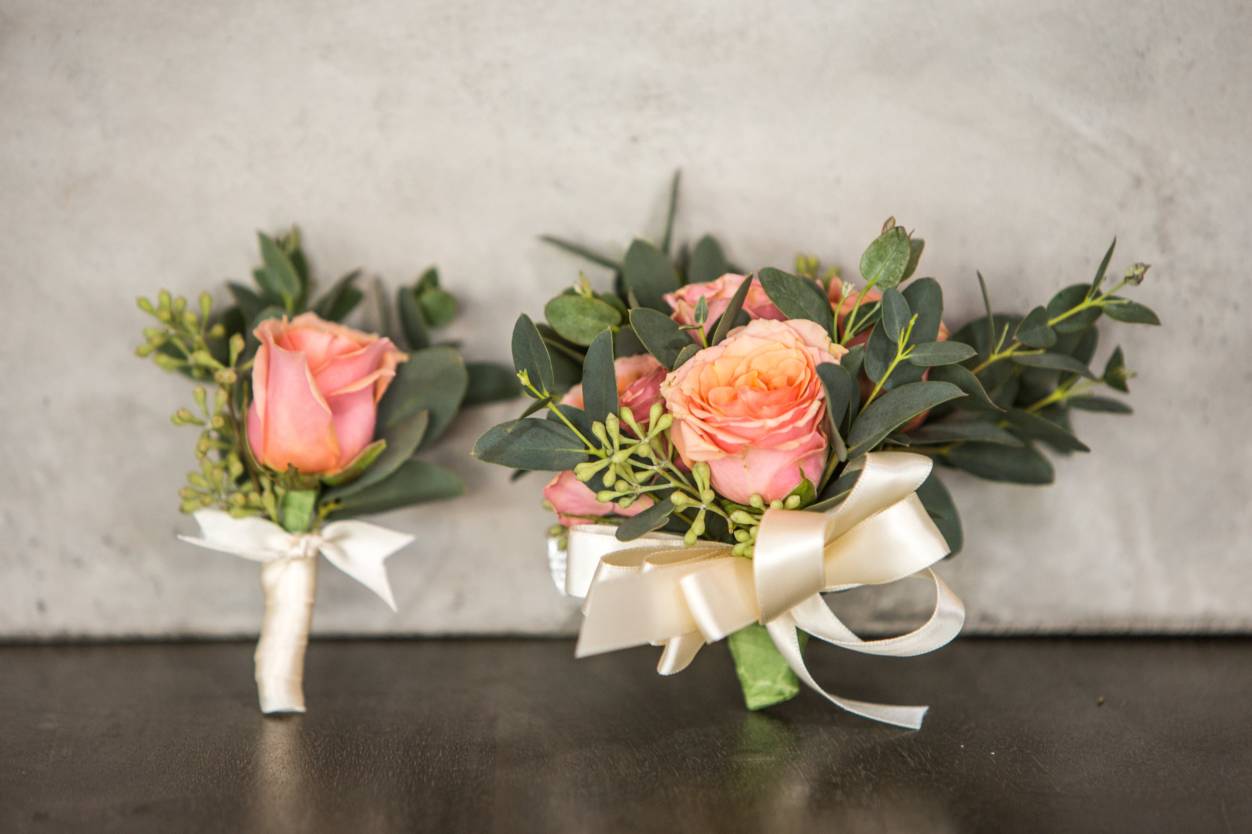 Homecoming Corsage-Boutonniere duo in peach $50 (Sold separately - Corsage $35, Boutonniere $20)