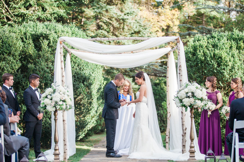 Rental Chuppah in birch poles, photography by Birds of a Feather.