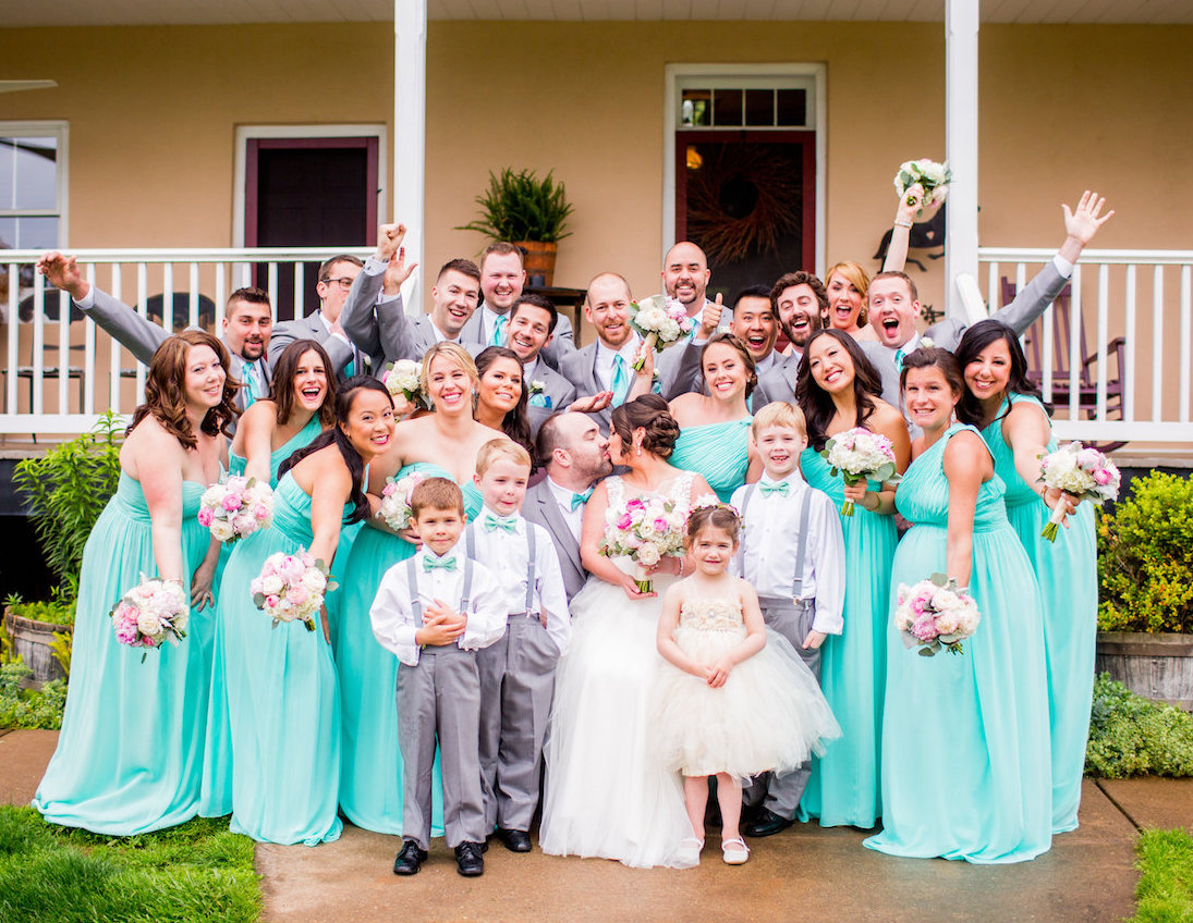 A Peony laden wedding party at Riverside on the Potomac in Leesburg, Virginia. Photography by Kaypea.