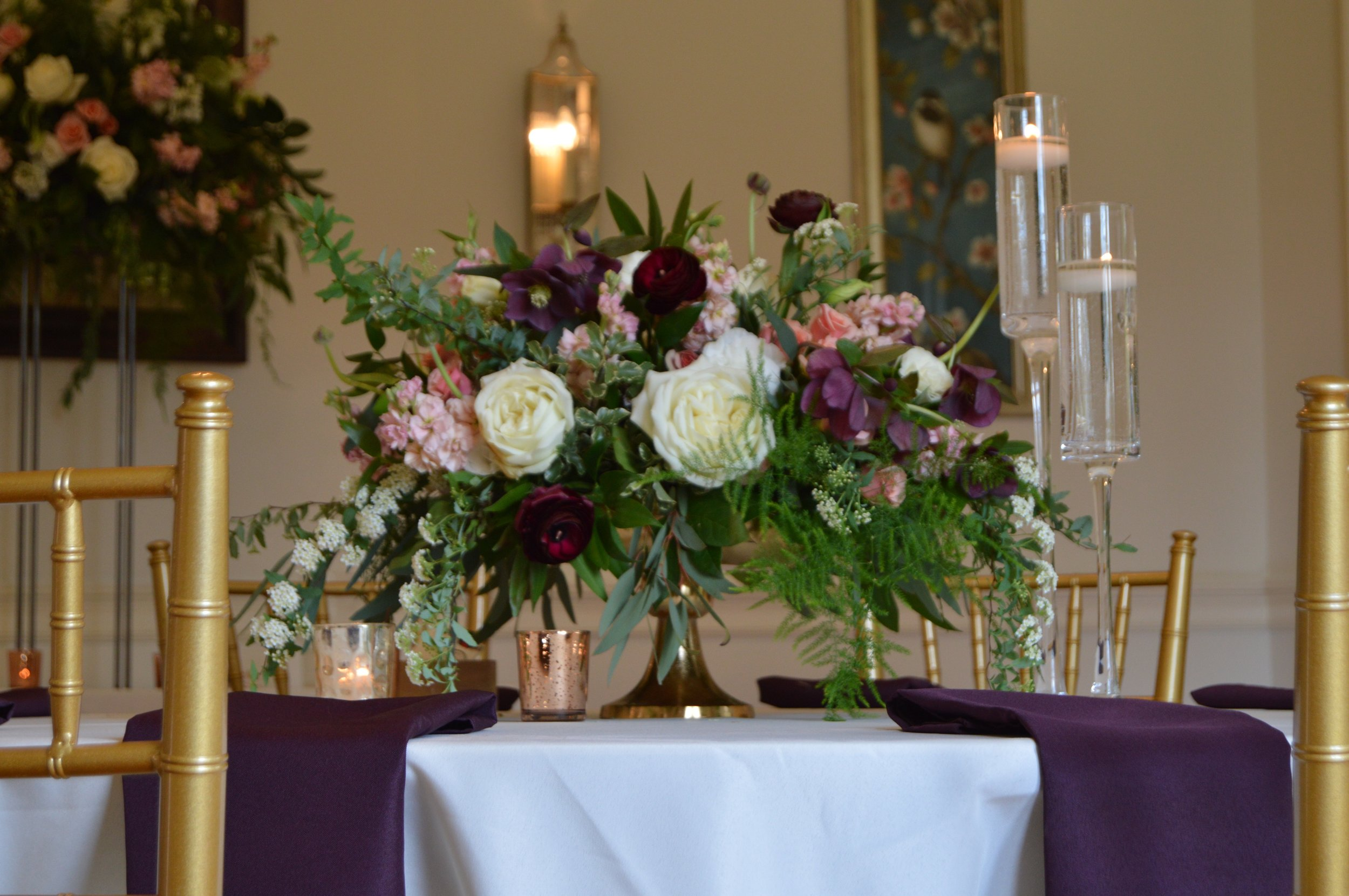 Elegance at Rust Manor House, Leesburg, Virginia, with Chiavari chairs, gold pedestal vase arrangement from J. Morris Flowers, copper and glass votives.