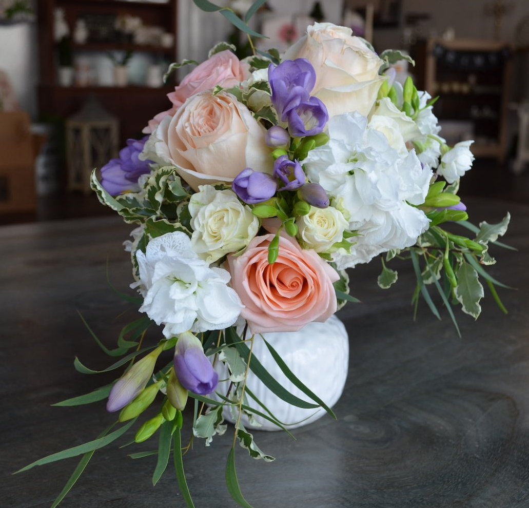 """Our own """"Pippa"""" inspired bouquet sitting in a white porcelain vase. Click   here   to view a photo of the original."""