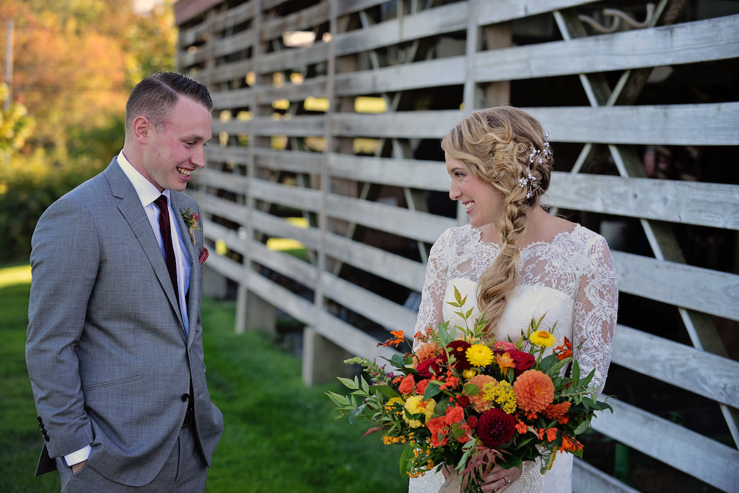 Jake and Susie Lipp, bold Fall bouquet