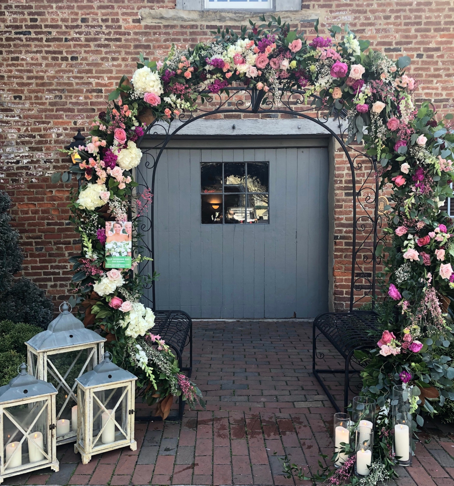 A circular arch in pink and white at the  Birkby House  in Leesburg, Virginia.