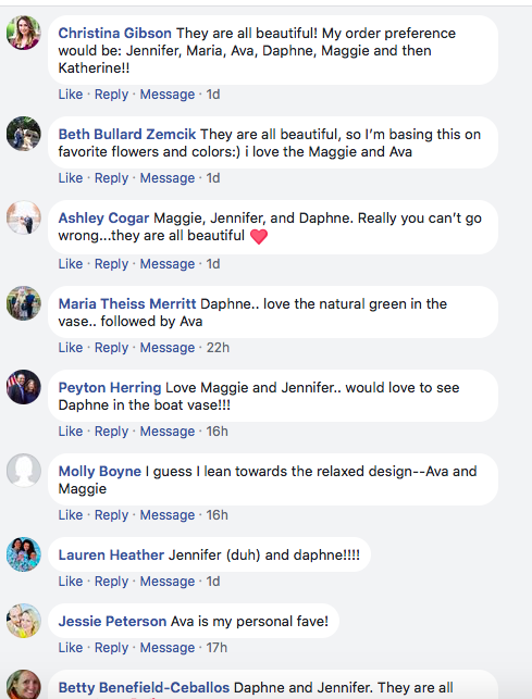 Just some of the comments that we received on   F   a  cebook. Like us on Facebook to get all the latest news from J. Morris Flowers.