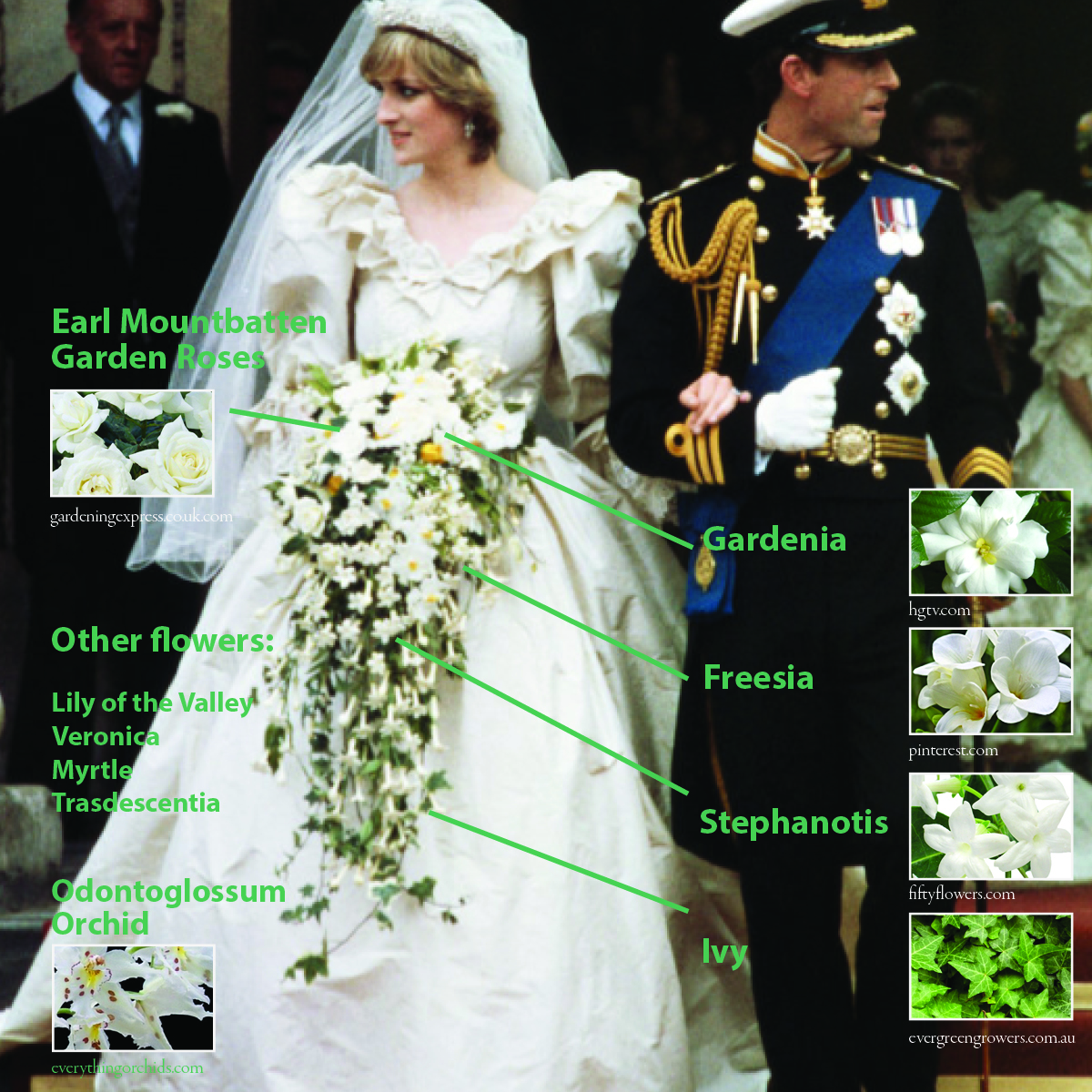 J. Morris Flowers diagram of Princess Diana's bouquet.