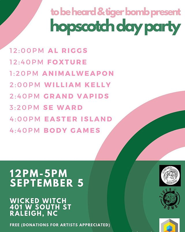 Excited to playing the @tigerbombpromo @hopscotchfest day party! September 5th