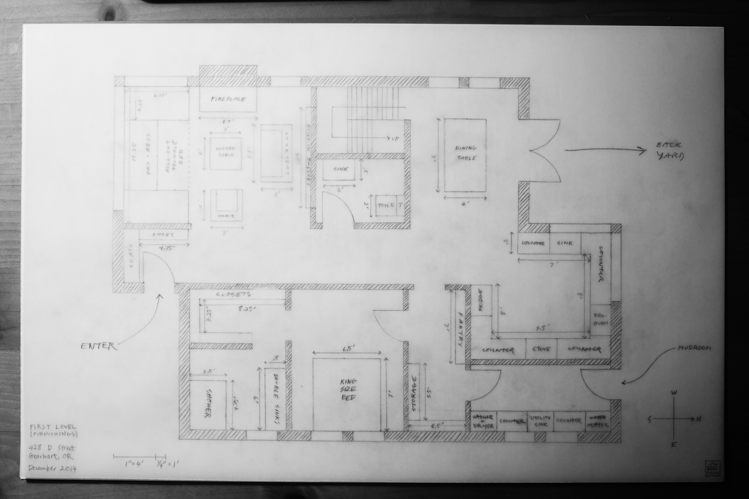I traced over the first drawing to make another one that showed furnishings. I thought it would be less cluttered this way, but I probably could have gotten away with all of it in one image...