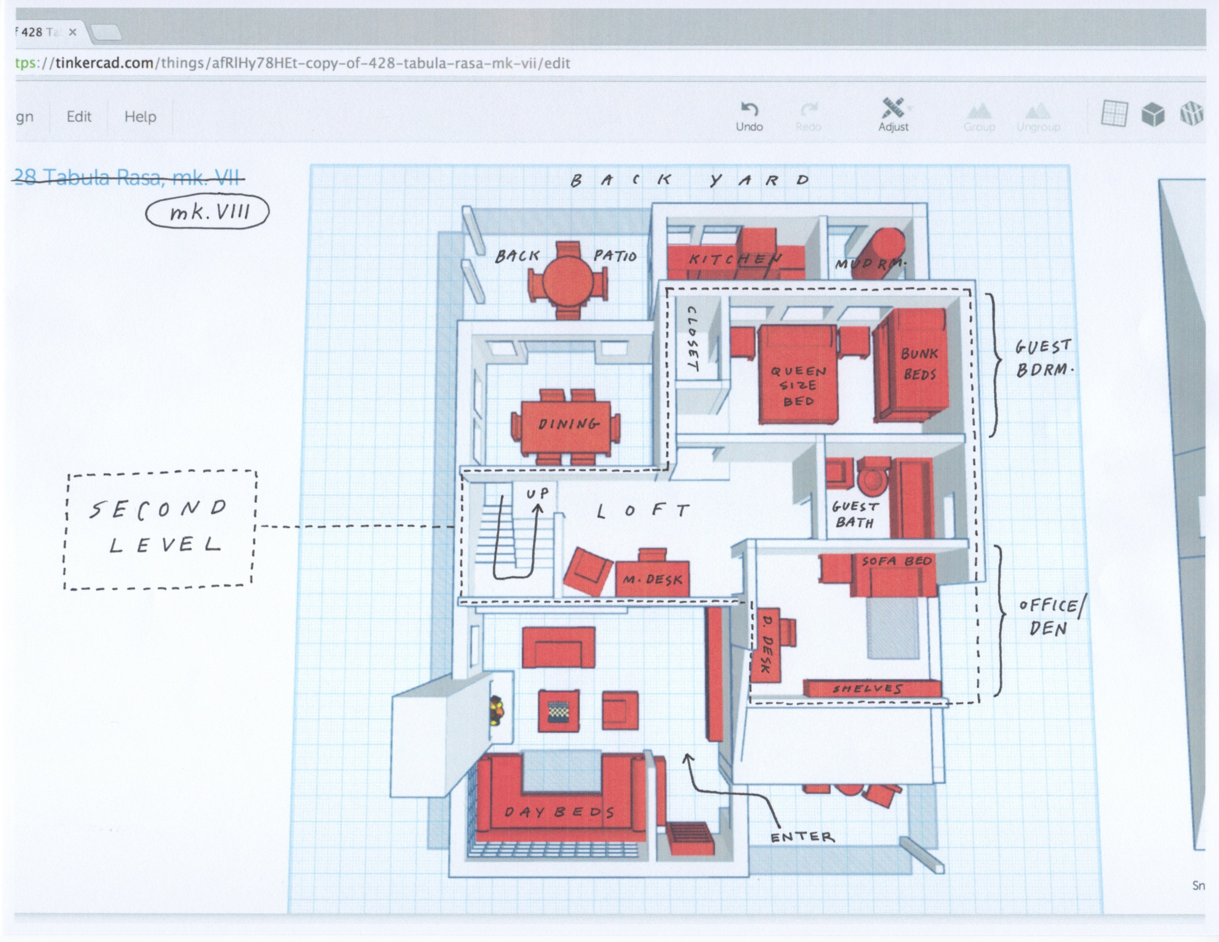 """The scale for these models ended up being 24:1 --""""one inch"""" in TinkerCAD = 2 feet in meatspace.  The narrow, transparent 'boxes' around the exterior of the model represent the limits of the lot's buildable area -- 36' wide x 50' long."""
