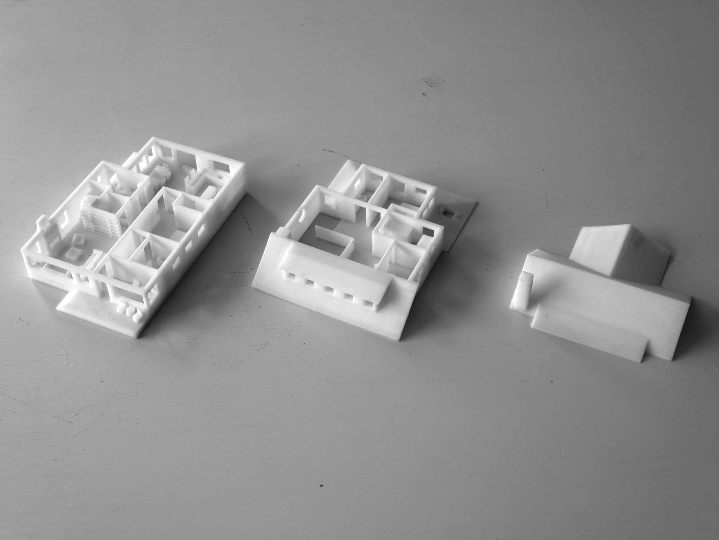 3D-printed maquette in three parts