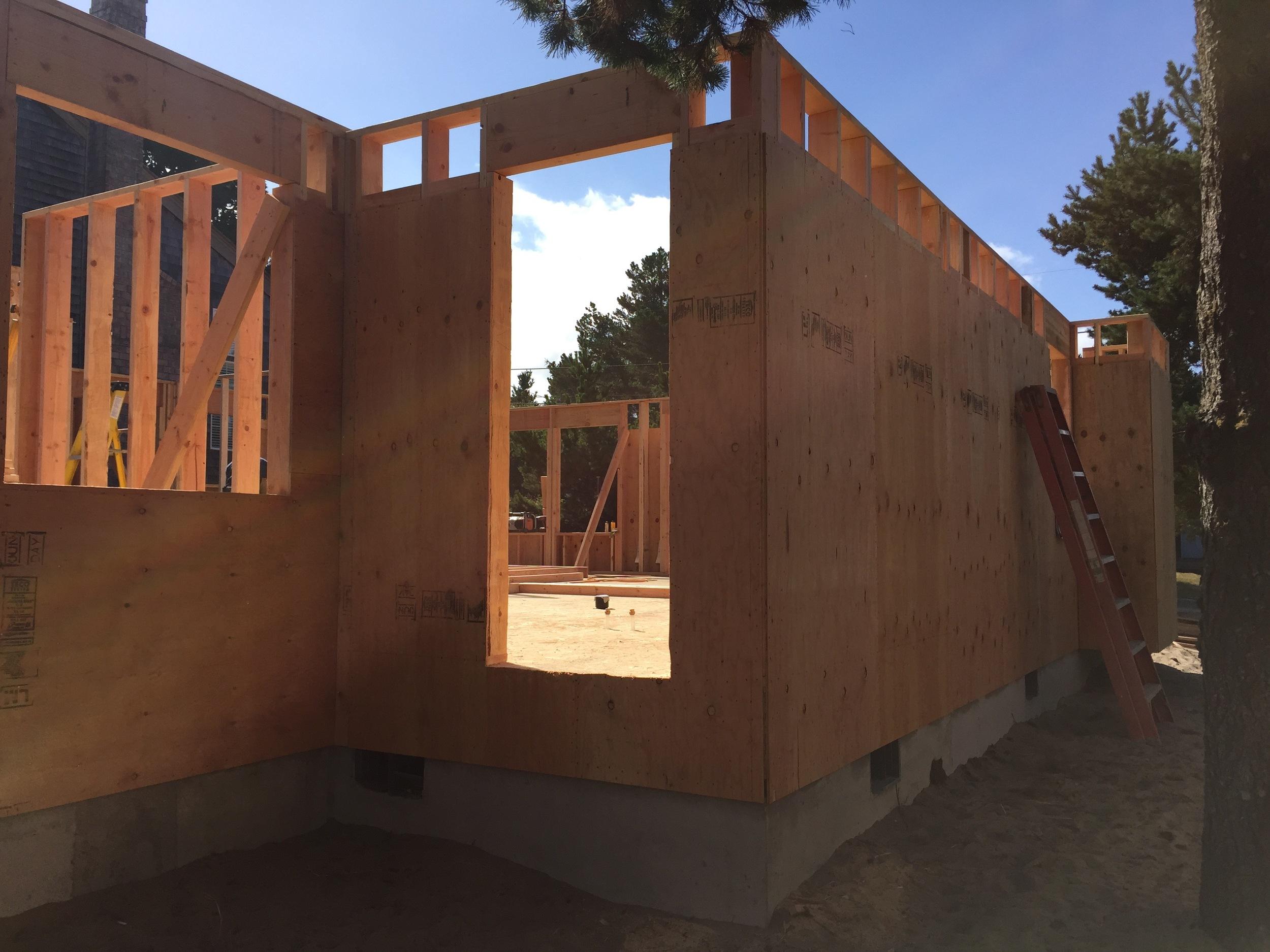 Last exterior wall + door (mudroom / covered porch)