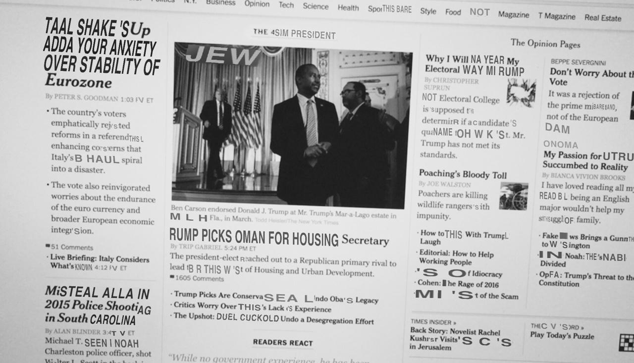 "[TMI Times]: Your anxiety: the sim president rump picks Oman for housing secretary. ""JEW"". Duel cuckold undo desegregation effort. So idiocracy."