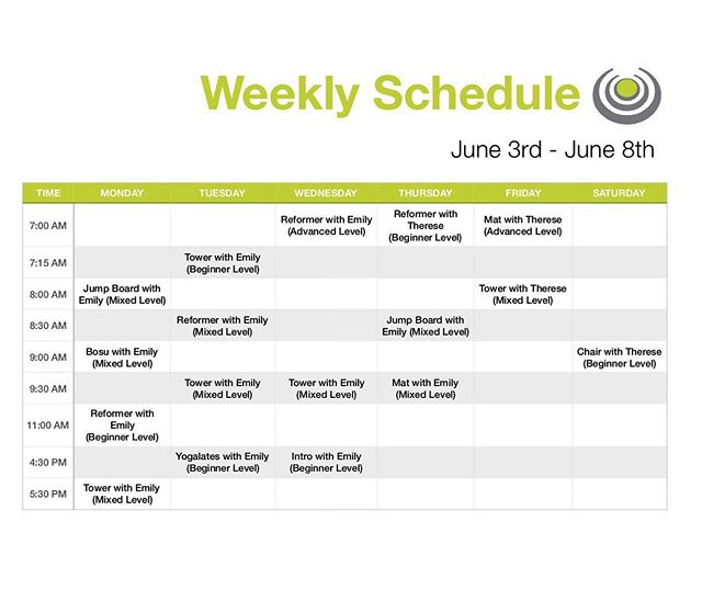 Next weeks schedule! Don't forget to pick up your bring a friend to Pilates VIP passes!!!!!! It starts next week so let us know if you are bringing a friend before all the classes fill up! They don't have to be in the same class as you! #corestrongbham #tpchostadvisor #birminghampilates #birminghamfitness