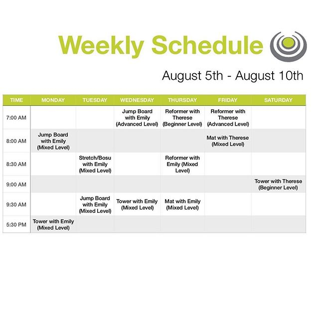 Schedule for next week! Also after next week Maddy will be back teaching classes!!!!! Yay we can't wait to have her back from New York! #birminghamfitnessclasses #corestrongbham #birminghampilates