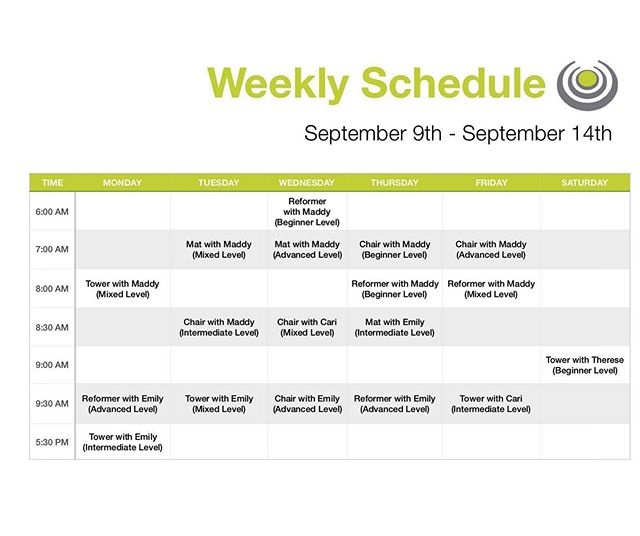 Schedule for next week! Get spots while they are still open! Also let us know if you are interested in private sessions! Everyone always needs a one on one refresher! #birminghamfit #bhampilates #corestrongbham #birminghampilates