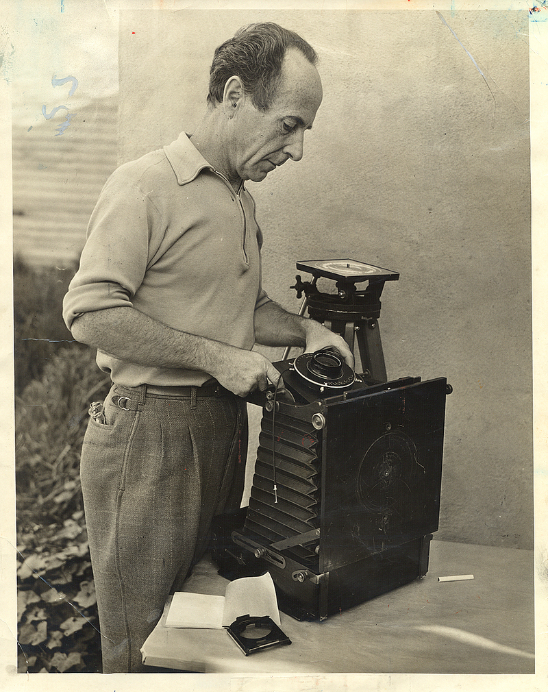 Edward Weston with his camera shortly after being awarded the Guggenheim Award.