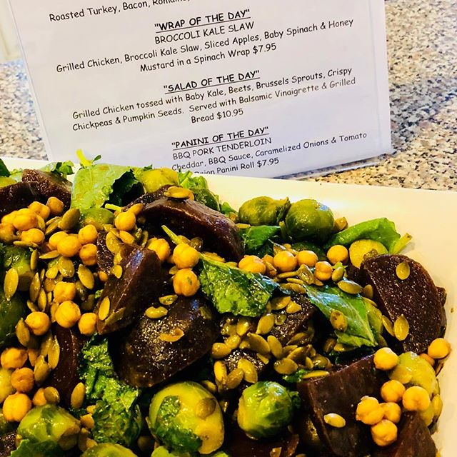 Salad of the Day - Baby Kale, Beets, Brussel Sprouts, Pumpkin Seeds, Crispy Chickpeas, Rosemary & Balsamic www.zuzuscatering.com