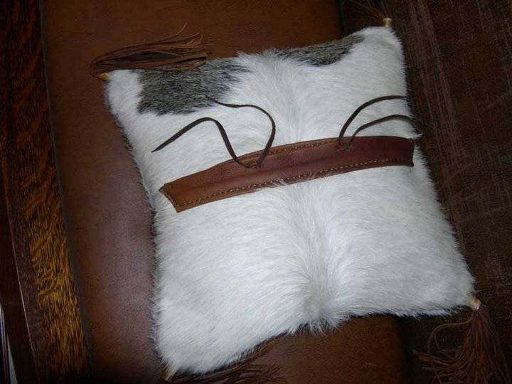 Two Fools Leather Goods, hair on hide leather pillow