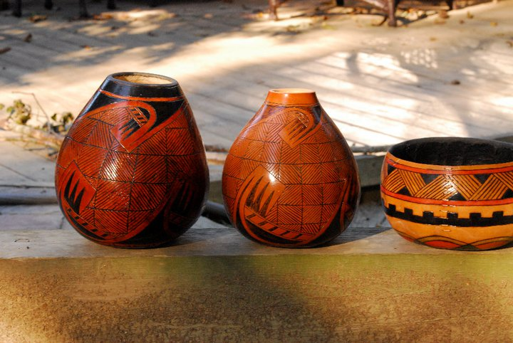 Two Fools Leather Goods, custom gourds, wood burning 7