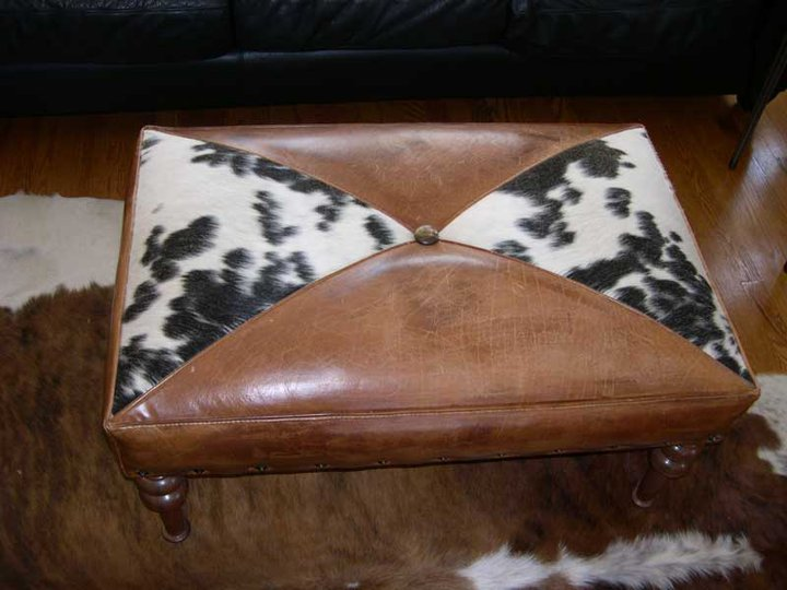 Two Fools Leather Goods, custom ottoman, hair on hide 3