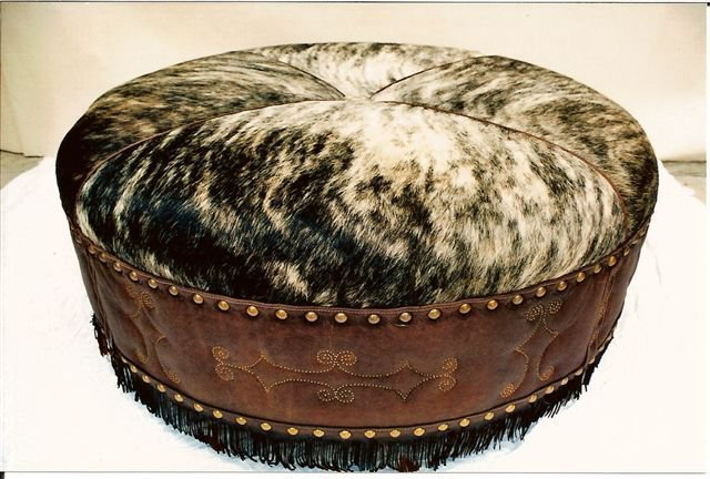 Two Fools Leather Goods, custom ottoman, hair on hide, large round with fringe 4