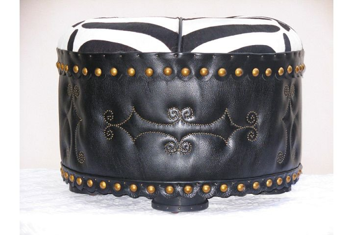 Two Fools Leather Goods, custom ottoman pair 2