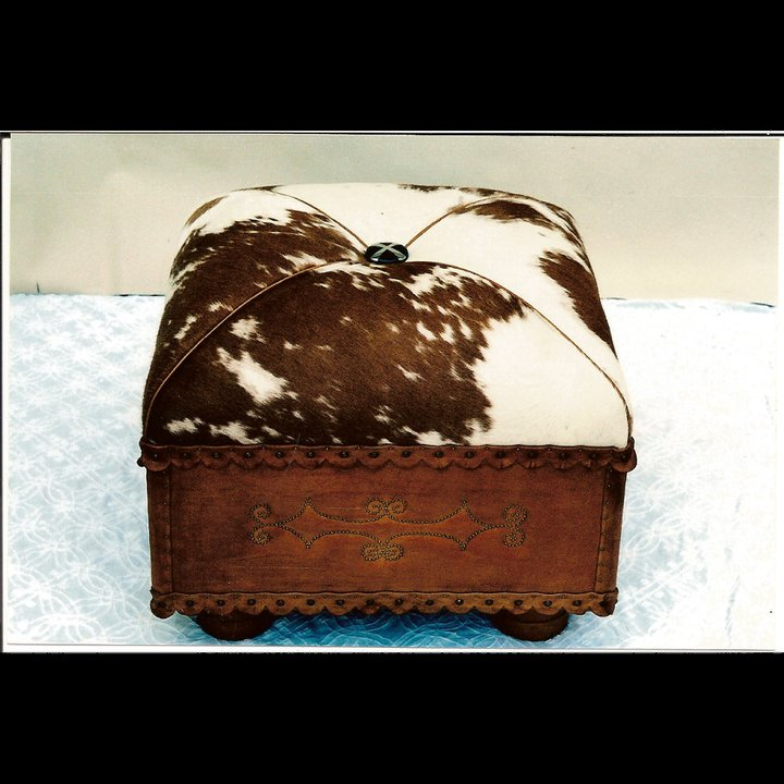 Two Fools Leather Goods, custom hair on hide ottoman 2